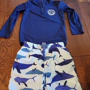 Carters toddler boy swim trunks and rash guard 5T
